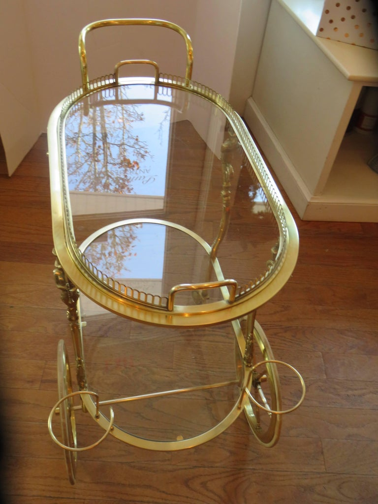 Maison Baguès Rare Brass Bar Cart, circa 1930s For Sale 1