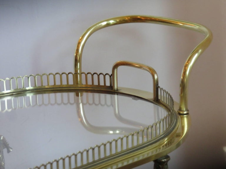 Hand-Crafted Maison Baguès Rare Brass Bar Cart, circa 1930s For Sale