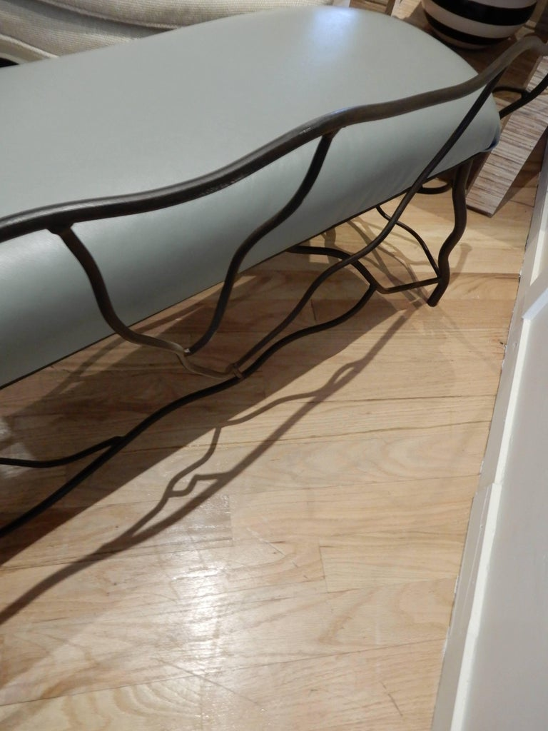 Italian Studio Crafted Giacometti Style Sculptural Iron and Leather Bench For Sale