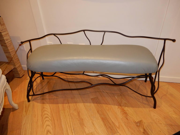 Studio Crafted Giacometti Style Sculptural Iron and Leather Bench For Sale 1