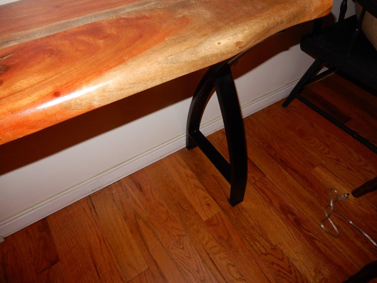 Hand-Carved A Studio Crafted Free Edge Apple Wood Console Table. Artist-Tylor Povac. For Sale
