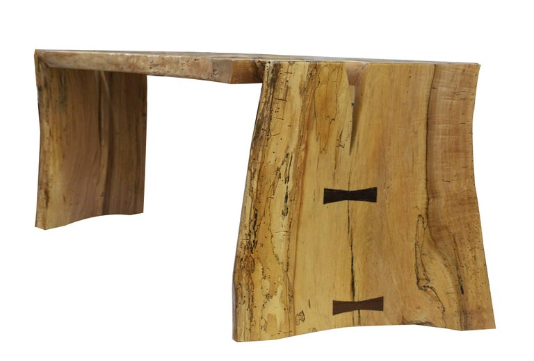 Fine works by David N Ebner the spalted maple free edge bench.