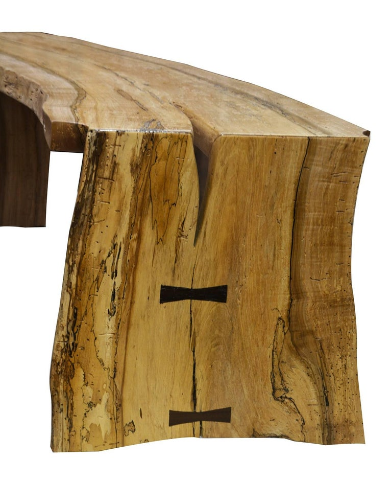 American Craftsman The David Ebner Free Edge Spalted Maple Bench For Sale