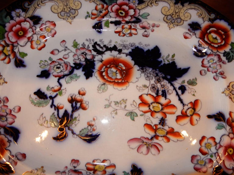 A collectors Imari platter from Charles Meigh & Son  of  England  Circa 1850.  Click through for all hallmarks,sales tag from Bergdorf Goodman's originally selling for 1400.00.The original wire-wall hanger in back.