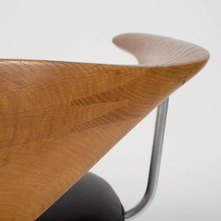 Hans J Wegner Oak Quot Swivel Chair Quot With Black Leather Seat