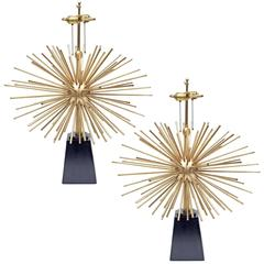 Pair of Brass Sputnik Table Lamps Mexico, 1950s