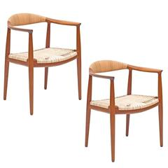 "Pair of Hans J. Wegner Woven Cane Teak ""The Chairs"" for Johannes Hansen"