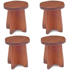 Handmade Honey Pine Stools or Small Tables, USA 1950s