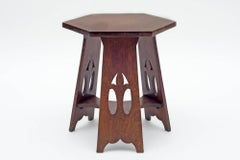 Stickley Brothers Quaint Furniture Co. Hexagonal Oak Taboret Table, USA 1900s
