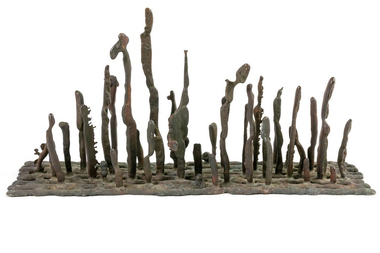 Harry Bertoia Early Bronze Platform Sculpture, USA, 1950s For Sale