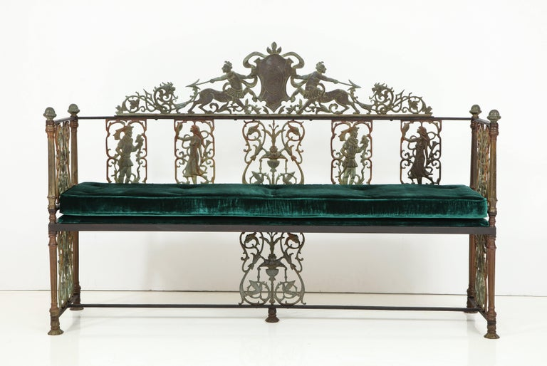 American Oscar Bach Iron and Bronze Benches with Velvet Seat Cushions, USA, 1920s For Sale