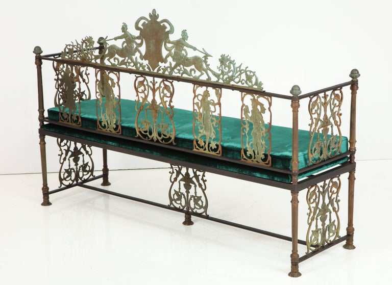Early 20th Century Oscar Bach Iron and Bronze Benches with Velvet Seat Cushions, USA, 1920s For Sale