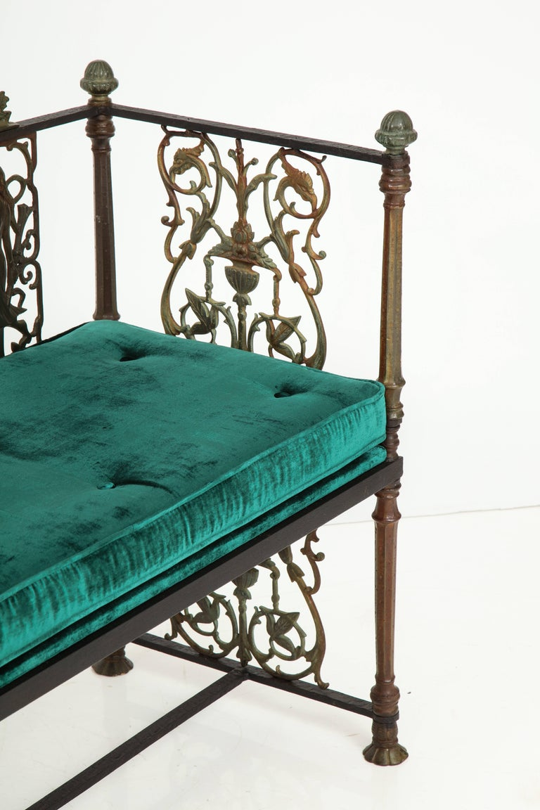 Oscar Bach Iron and Bronze Benches with Velvet Seat Cushions, USA, 1920s For Sale 3
