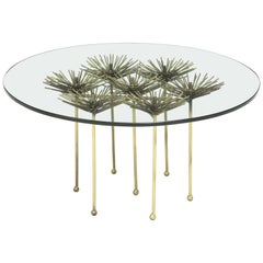 Brutalist Gilt Floral Table with Glass Top by Lost City Arts