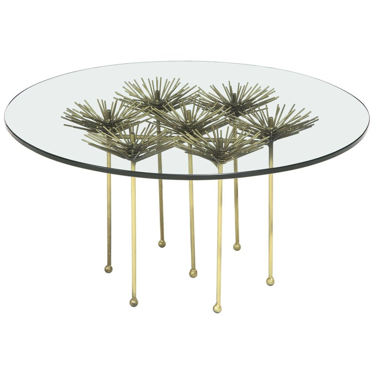 Brutalist Gilt Floral Table with Glass Top in the Manner of Seandel or Jere