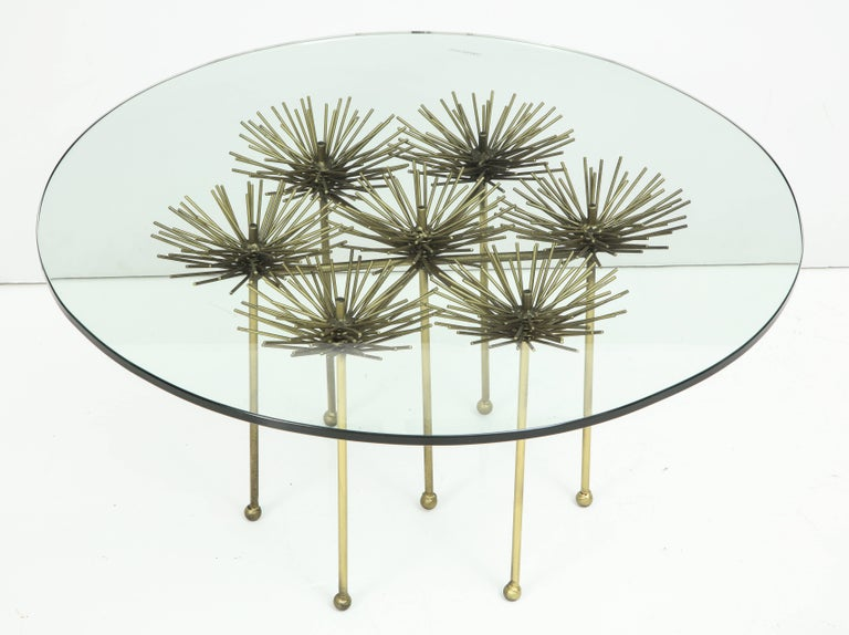 American Brutalist Gilt Floral Table with Glass Top in the Manner of Seandel or Jere For Sale