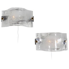 Mazzega Horizontal Frosted Glass Sconces with Brass Hardware, Italy 1970s
