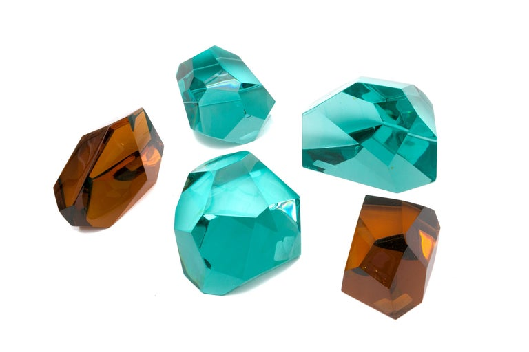 Italian Ghiro Handcrafted and Signed Faceted Crystal Glass Sculptures, Italy, 2017 For Sale