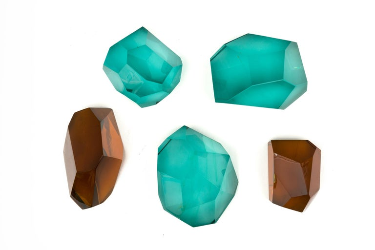 Contemporary Ghiro Handcrafted and Signed Faceted Crystal Glass Sculptures, Italy, 2017 For Sale