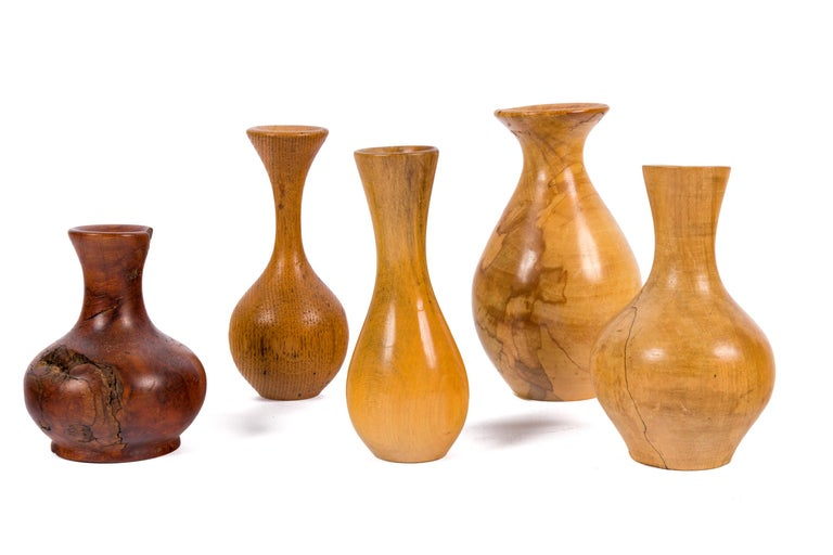 Melvin Lindquist Handcrafted Turned Vase Grouping, USA, 1970s In Excellent Condition For Sale In New York, NY