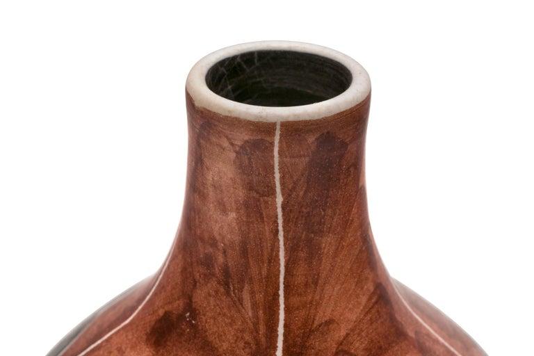 Glazed Soholm Signed Hand-Painted Ceramic Vase, Denmark, 1950s For Sale