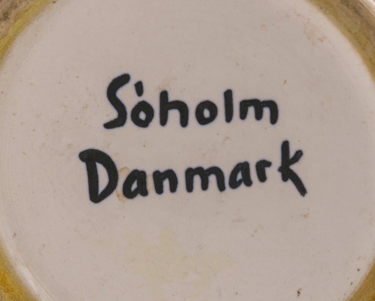 Soholm Signed Hand-Painted Ceramic Vase, Denmark, 1950s In Excellent Condition For Sale In New York, NY