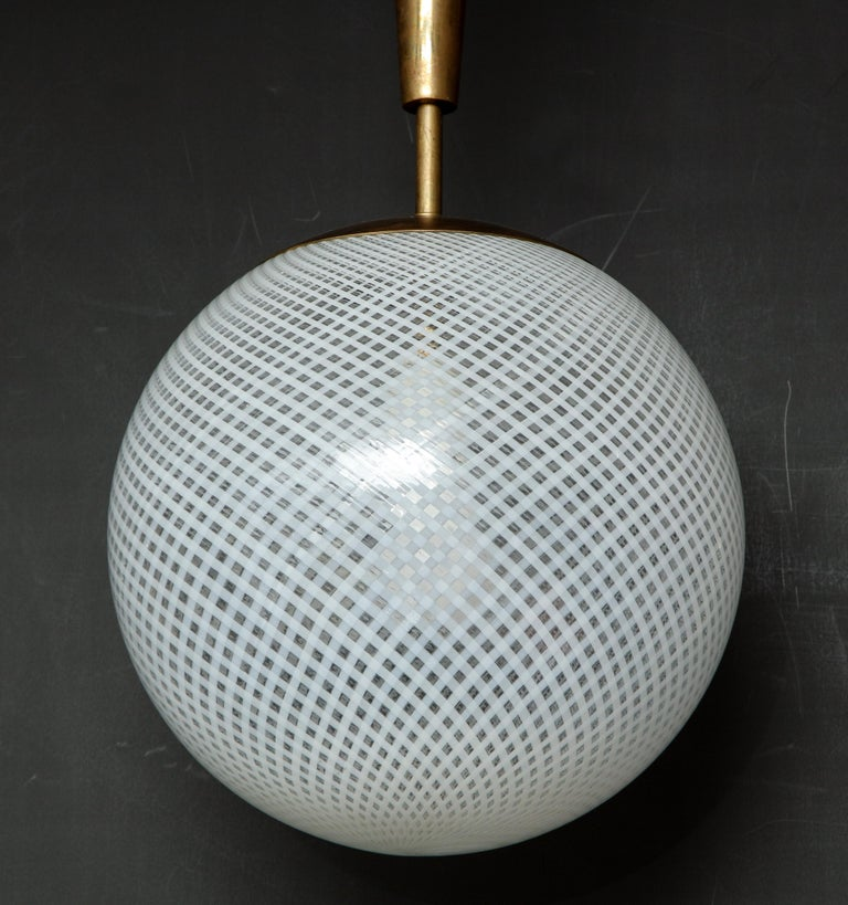 Italian Mid-Century Style Patterned Murano Globe Pendant with Tapered Brass Stem For Sale 1
