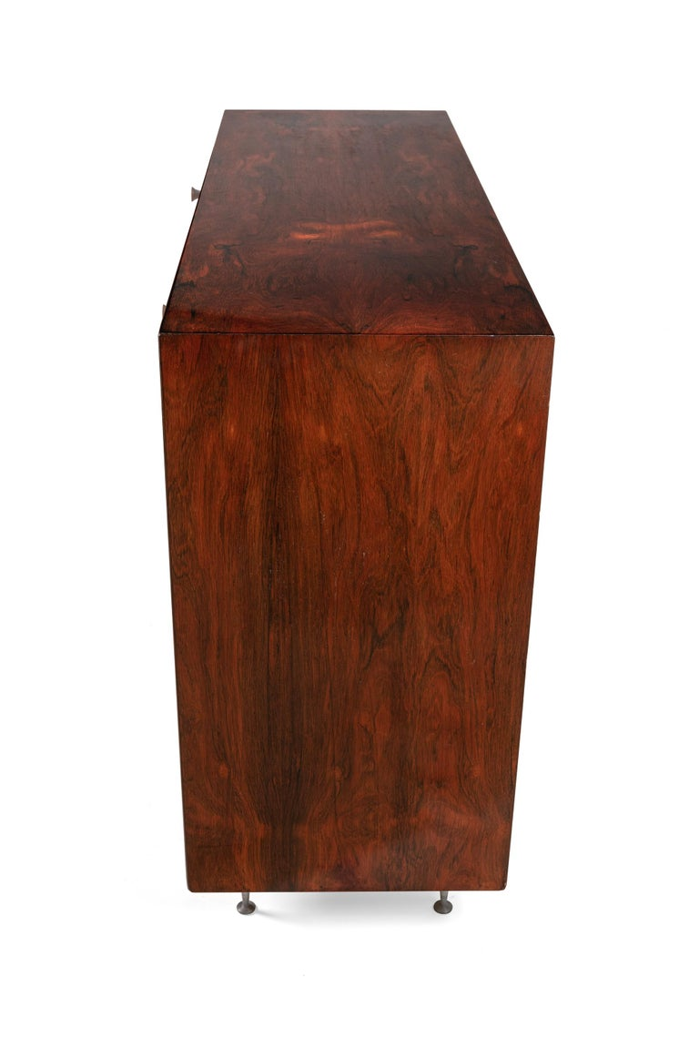 Mid-Century Modern George Nelson Rosewood Thin Edge Chest of Drawers/Cabinet, Herman Miller, 1950s For Sale