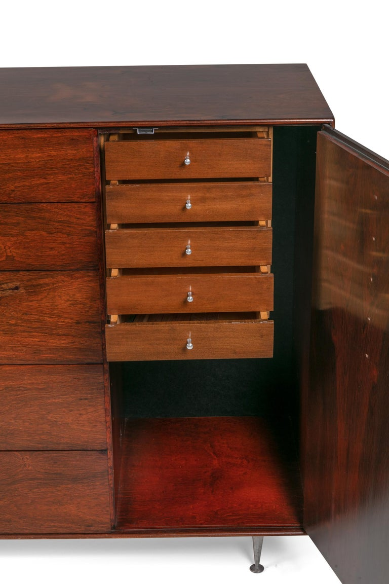 George Nelson Rosewood Thin Edge Chest of Drawers/Cabinet, Herman Miller, 1950s In Excellent Condition For Sale In New York, NY