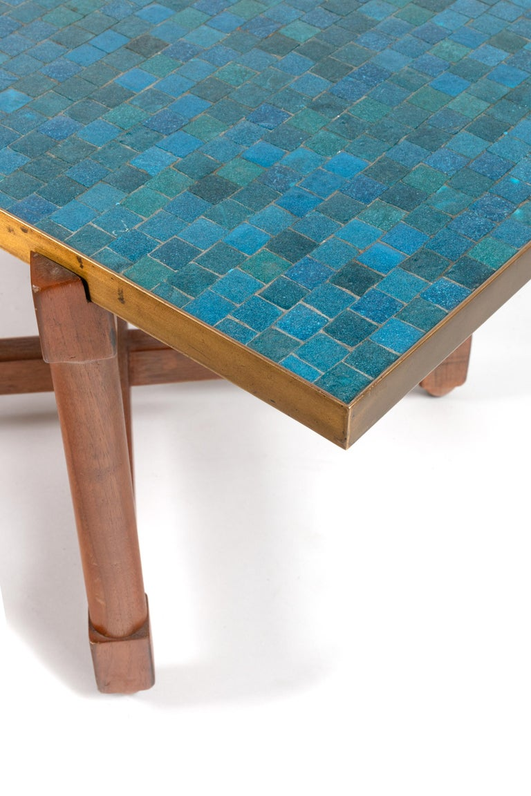Mid-20th Century Dunbar Murano Glass Tile Top Coffee Table by Edward Wormley, USA, 1950s For Sale