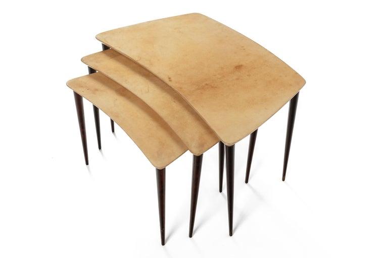 Mid-Century Modern Aldo Tura Midcentury Goatskin Nesting Tables, Italy, 1960s For Sale