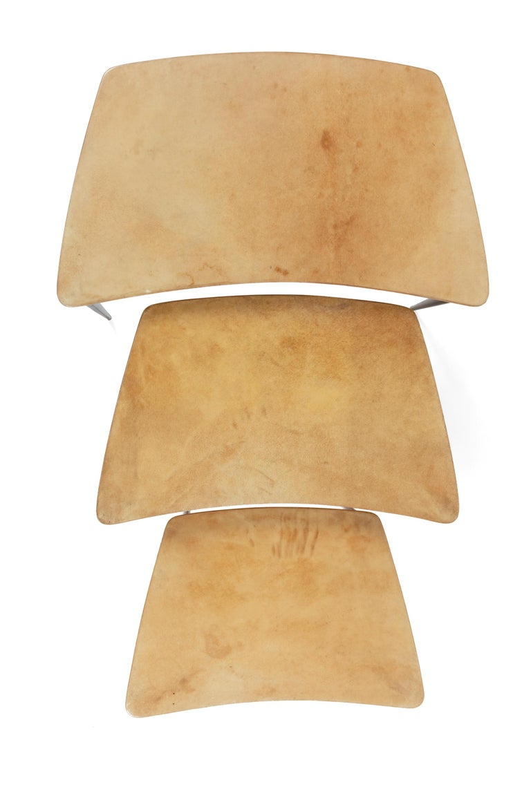 Italian Aldo Tura Midcentury Goatskin Nesting Tables, Italy, 1960s For Sale