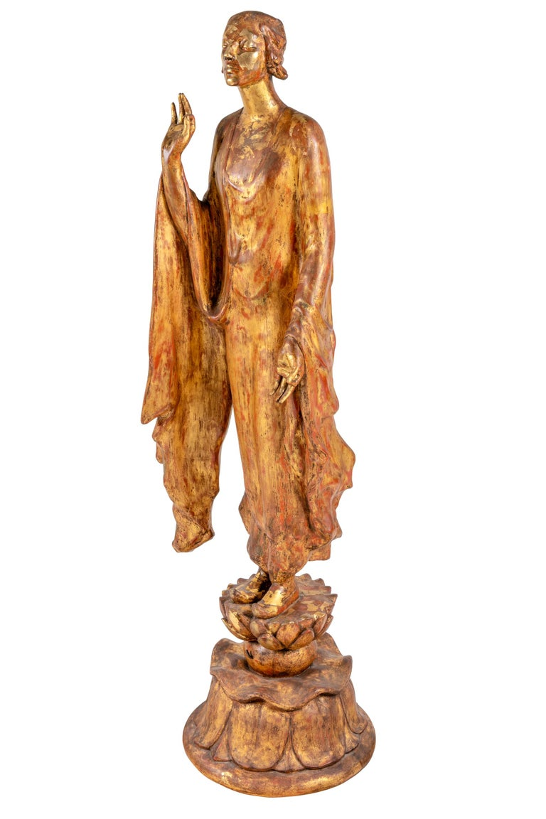 This sculpture, a self portrait which stylistically mixes Art Nouveau and orientalism, is among her earliest successes. This piece is the original sculpted plaster version which she gilded. Two bronze and one marble were created in 1914. The marble