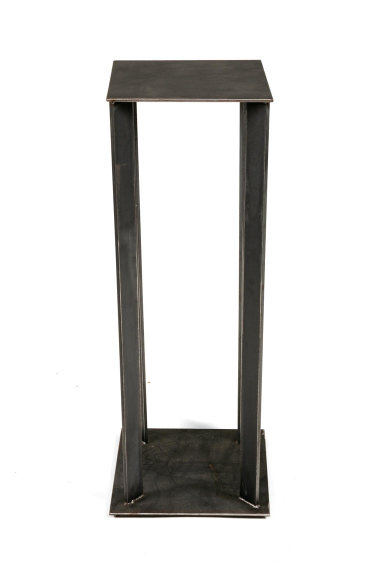 American Artist Made Industrial Steel Pedestal Stand by Robert Koch, USA, 2018 For Sale
