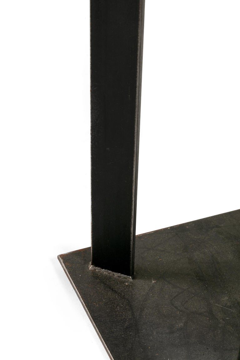 Contemporary Artist Made Industrial Steel Pedestal Stand by Robert Koch, USA, 2018 For Sale