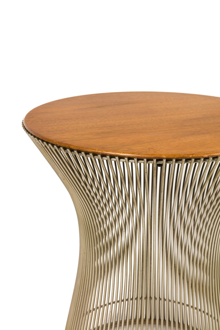 Mid-Century Modern Warren Platner Walnut and Chrome Side Table for Knoll, USA, 1970s For Sale