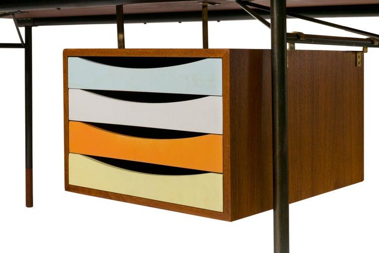 Enameled Finn Juhl Model BO69 Nyhavn Teak Desk with Extension for Bovirke, Denmark, 1950s For Sale