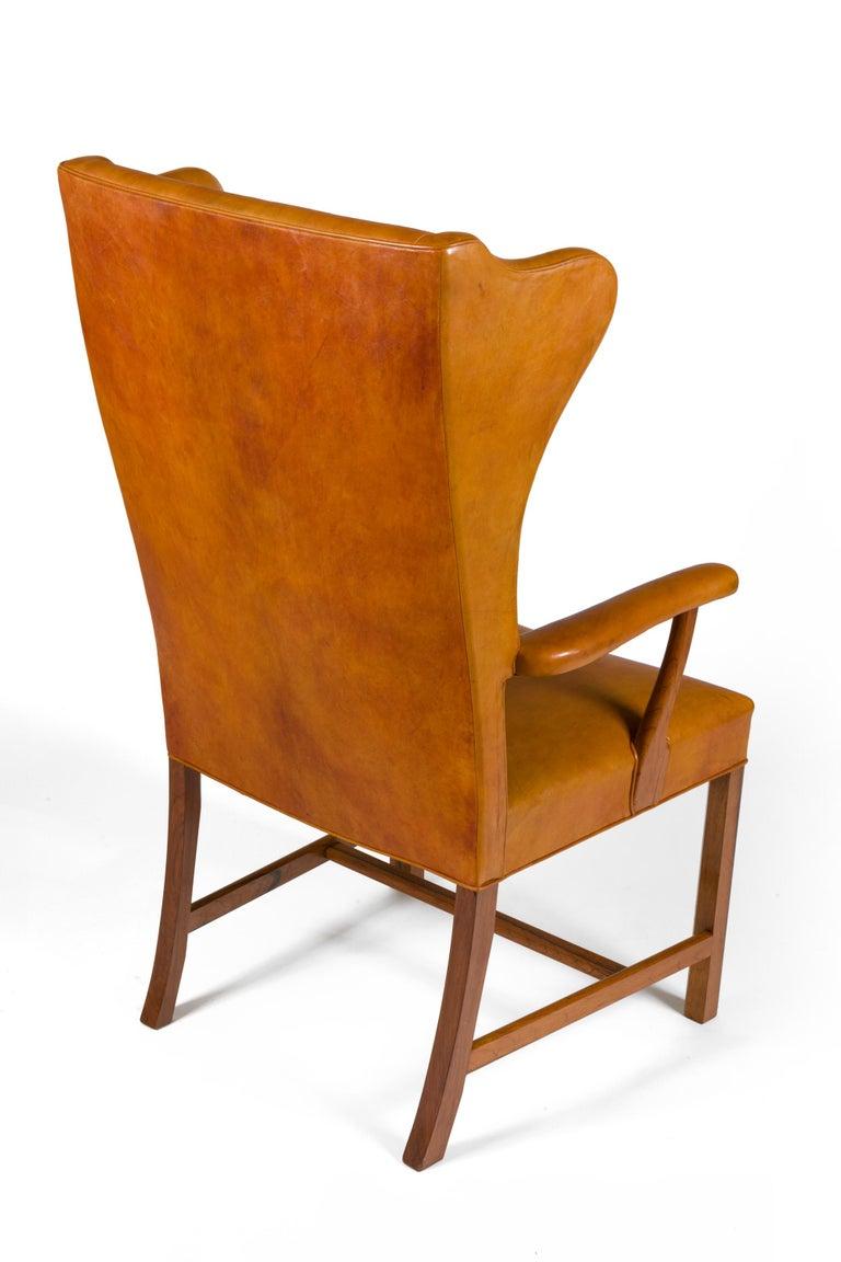 Danish Borge Mogensen Vintage Leather High Back Arm Chair, Denmark 1947 For Sale