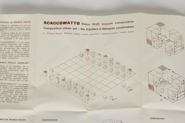 Brass Scaccomatto Chess Set by Franco Rocco For Sale
