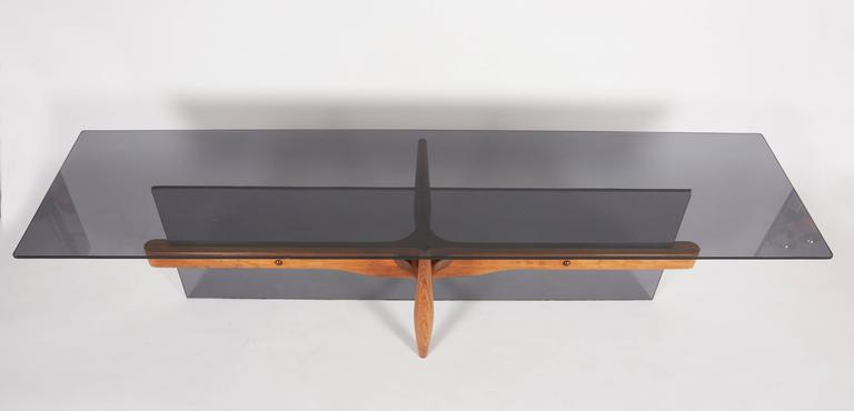 Mid-Century Modern Unique Custom Rosewood Mid-Century Coffee Table For Sale