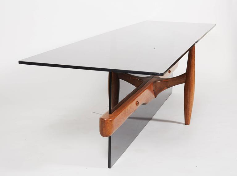 Unique Custom Rosewood Mid-Century Coffee Table In Excellent Condition For Sale In New York, NY