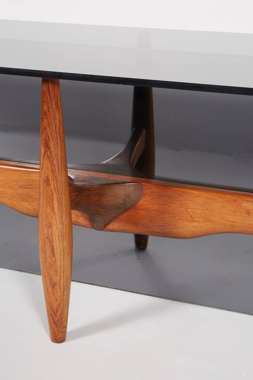 Unique Custom Rosewood Mid-Century Coffee Table For Sale 1
