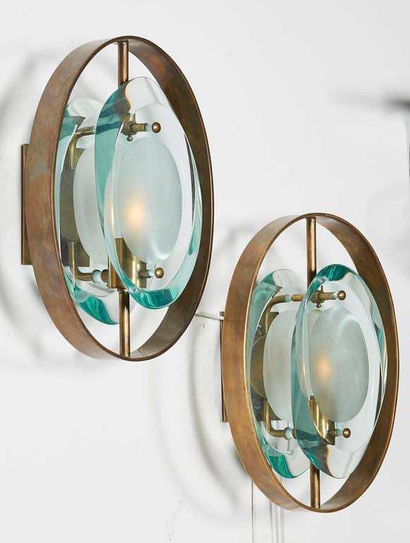 Mid-Century Modern Handcrafted Italian Glass Sconces In the Style of Max Ingrand For Sale