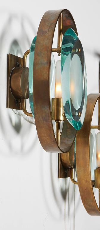 Handcrafted Italian Glass Sconces In the Style of Max Ingrand In Excellent Condition For Sale In New York, NY