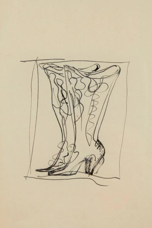A fabulous and whimsical drawing of boots for Christofle. Authentication papers from the Gio Ponti archives provided with drawing.