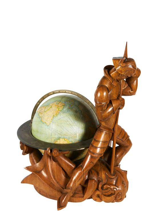 Sculptural globe of St. George and the dragon with zodiac signs. Signed and dated. Provenance: Collection of Jerome Shaw, Florida; Historical Design Inc., New York; 1939 World's Fair, New York.