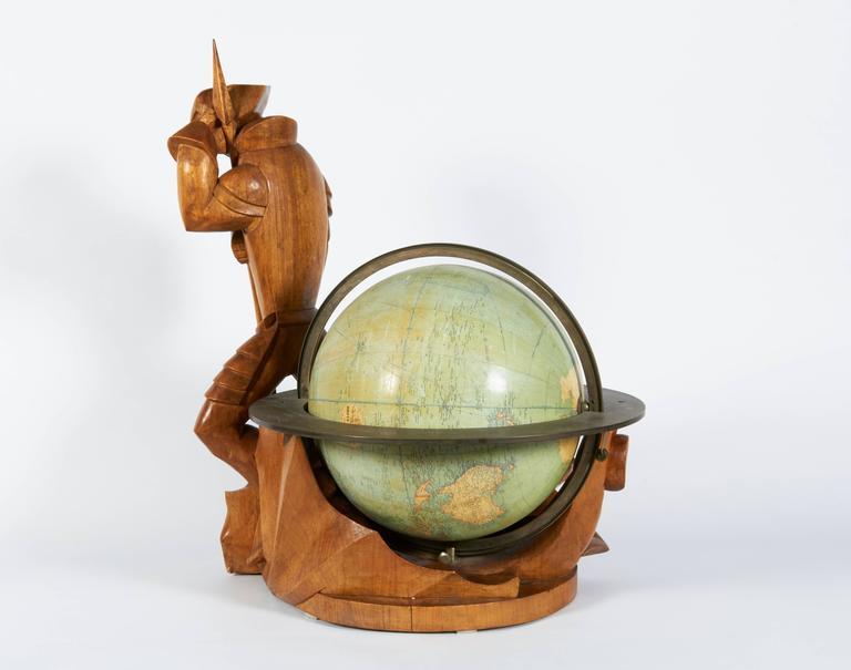 Belgian Philips Carved Wood Sculptural Globe by Albert Poels, Belgium, 1939 For Sale