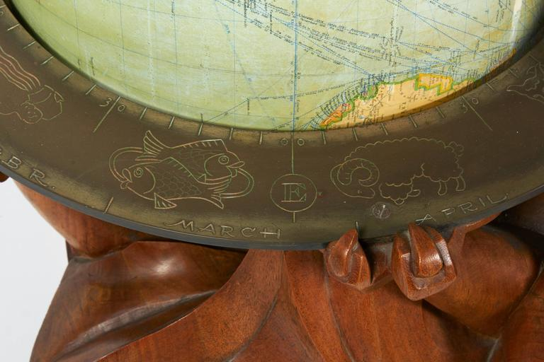 Philips Carved Wood Sculptural Globe by Albert Poels, Belgium, 1939 In Excellent Condition For Sale In New York, NY