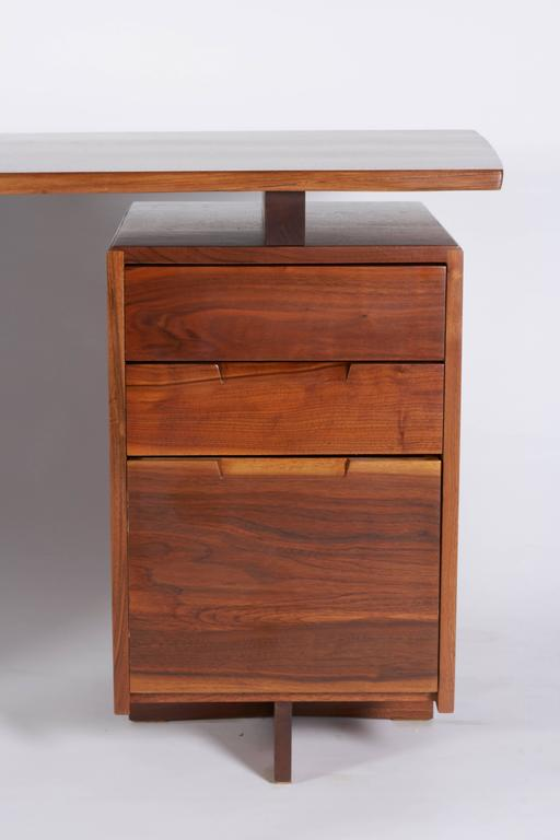 American George Nakashima Walnut Double Pedestal Desk, 1977 For Sale