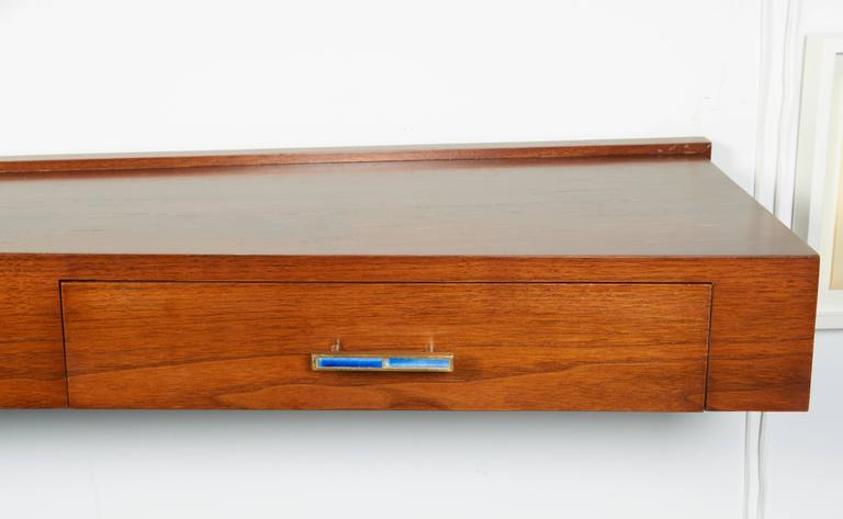 Scandinavian Modern Wall-Mounted Console with Drawer and Tile Pull, Denmark, 1960s For Sale